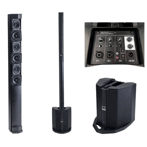 affitto audio verticale brescia mojo line 500 impianto a colonna con mixer integrato 4 canali stereo bluetooth subwoofer, adatto per parlati, sottofondi , musica alta qualità