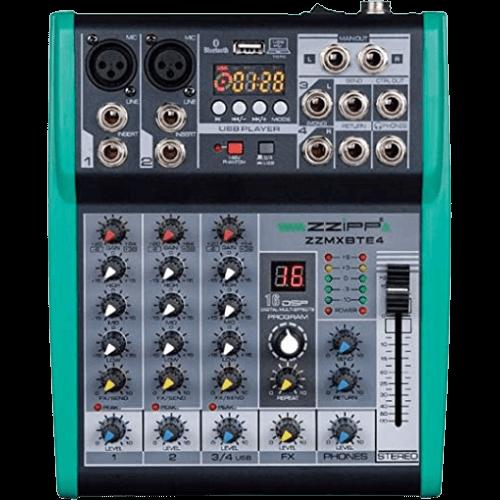 """Mixer 4 canali, 2 microfoni 1 stereo USB, MP3, PC, scheda audio, Bluetooth noleggio audio casse speaker the box 12"""" attive noleggio audio brescia"""